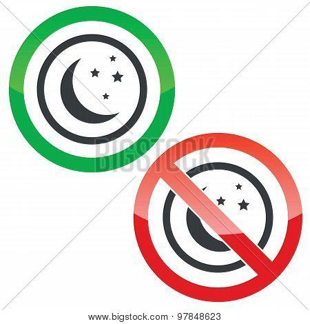 NIght permission signs