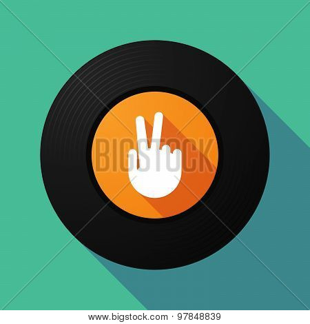 Vinyl Record With A Victory Hand