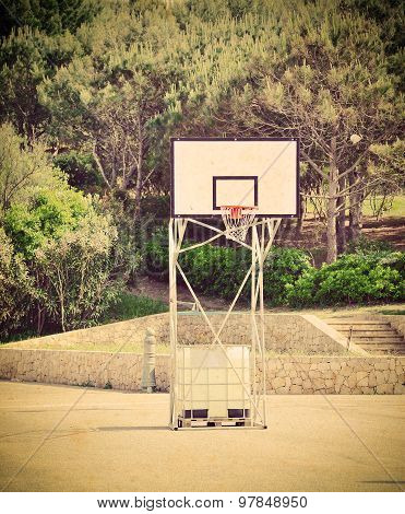 Basketball Hoop In A Vintage Playground