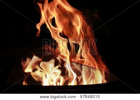 Fire burning in fire pit