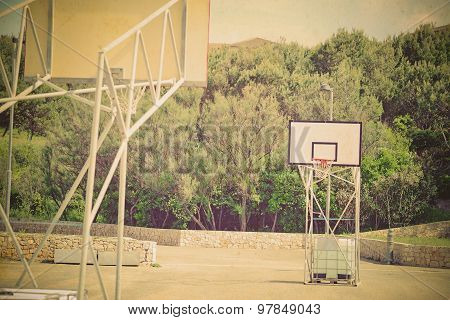 Basketball Playground In Vintage Tone