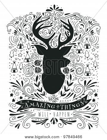 Hand Drawn Vintage Label With A Reindeer And Lettering