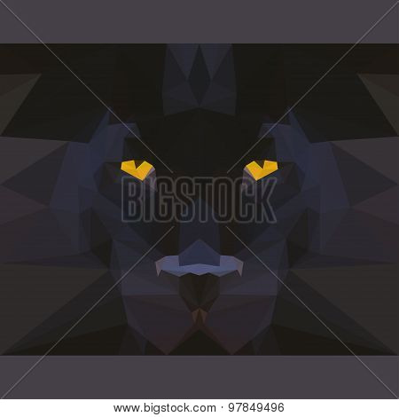 Wild Black Panther Stares Forward. Abstract Geometric Polygonat Triangle Illustration