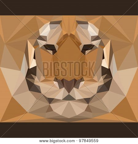 Wild Tiger Stares Forward. Abstract Geometric Polygonal Triangle Illustration