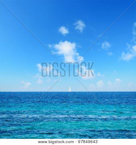 Boat At The Horizon With Fata Morgana Effect
