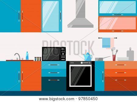 Kitchen Interior. Illustration In Trendy Flat Style For Design.