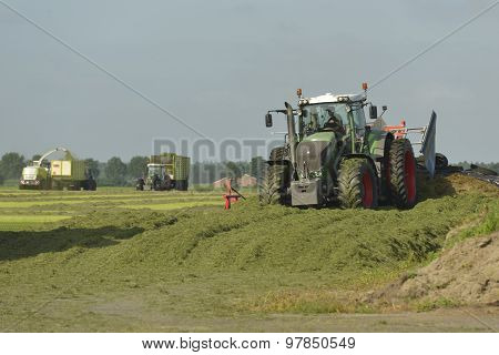 Agriculture, Cut Grass Chopping And Silage With Tractors.