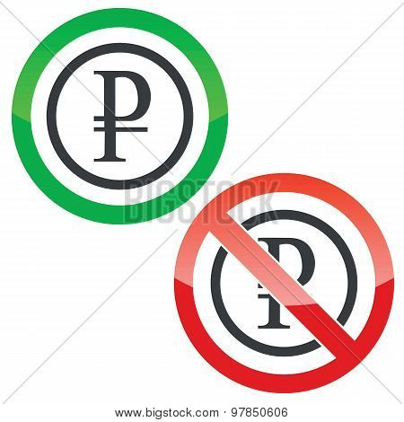 Ruble permission signs