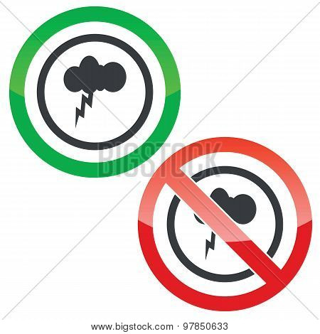 Thunderstorm permission signs