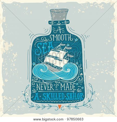 Hand Drawn Vintage Label With A Ship In A Bottle And Hand Lettering