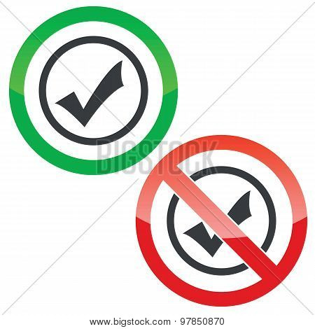 Select permission signs