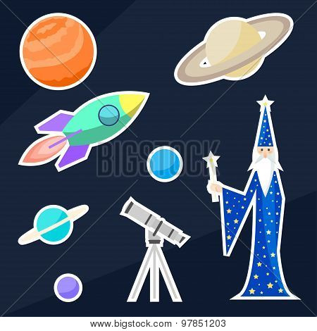 Magician Astrologer And Space Objects. Bright Funny Cartoon Illustration