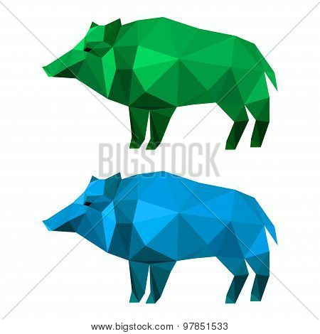 Wild Boar Set Painted In Imaginary Colors Isolated On White