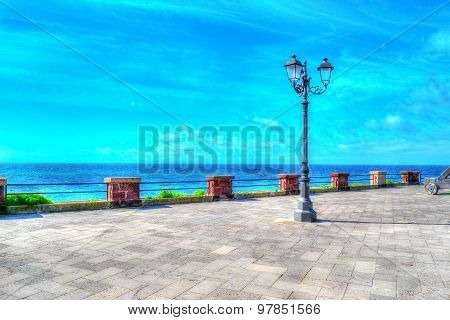 Classic Lamppost In Alghero Coastline
