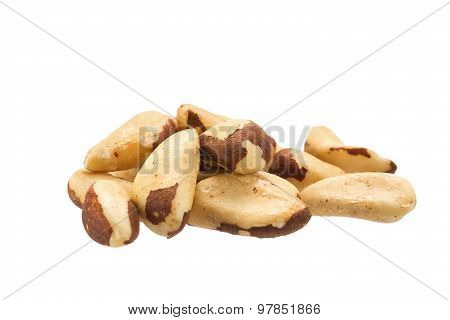 Brazil Nuts Heap On White Background