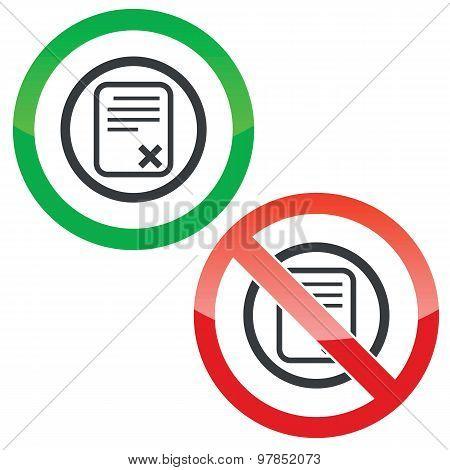Decline document permission signs