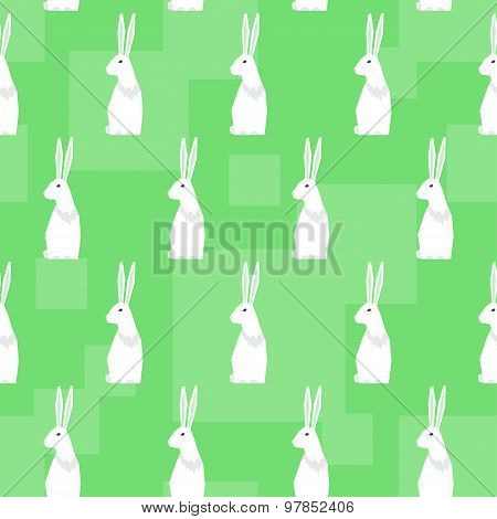 Funny Cartoon Rabbits. Abstract Geometric Seamless Pattern Background For Design