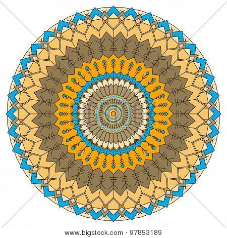 Hand-drawing Ethnic Ornamental Round Abstract Background With Many Details