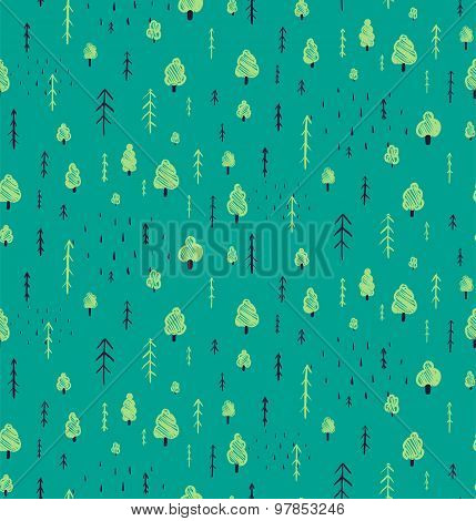 Forest Hand Drawn Seamless Pattern Background.