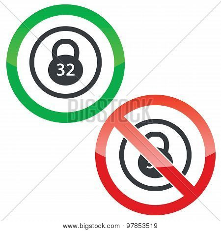 Dumbbell permission signs