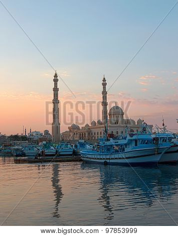 Fishery Marina And Mosque At Dusk