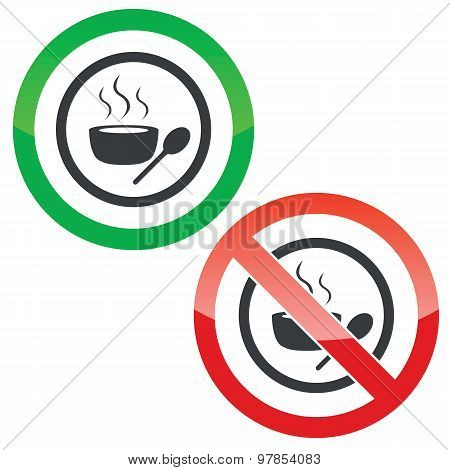 Hot soup permission signs