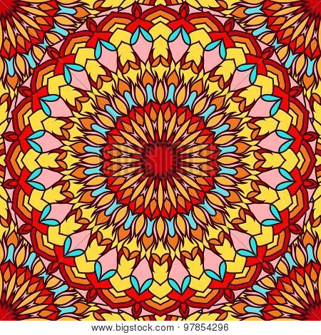 Hand-drawing Seamless Ornamental Floral Abstract Bright Background With Many Details