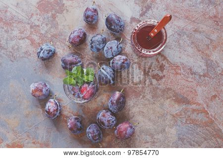Plums and plum juice