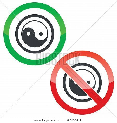 Ying yang permission signs
