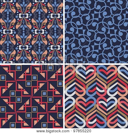 Set of four abstract geometric seamless patterns. Butterflies, Indian patchwork quilt, linked hearts.