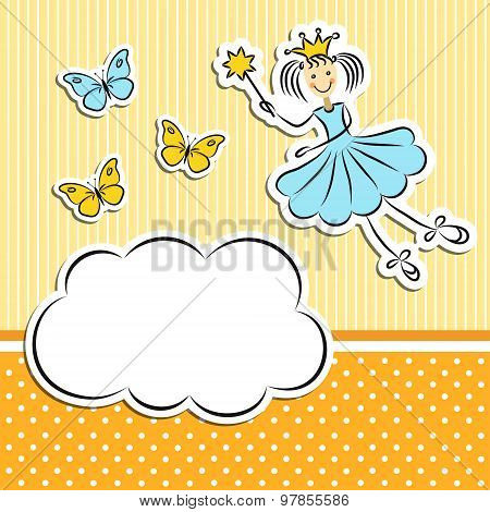 Fairy Princess With Paper Cloud And Butterflies