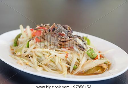 Spicy Papaya Salad With Crab