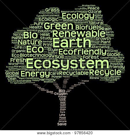 Conceptual green tree made of ecology, recycle or energy text as wordcloud isolated on black background