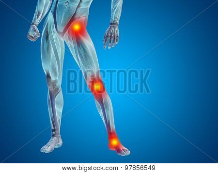 Conceptual 3D human man anatomy lower body or health design, joint or articular pain, ache or injury on blue background