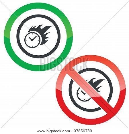 Burning time permission signs