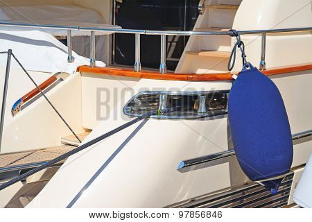 Boat Fender On A Luxury Yacht In Porto Cervo