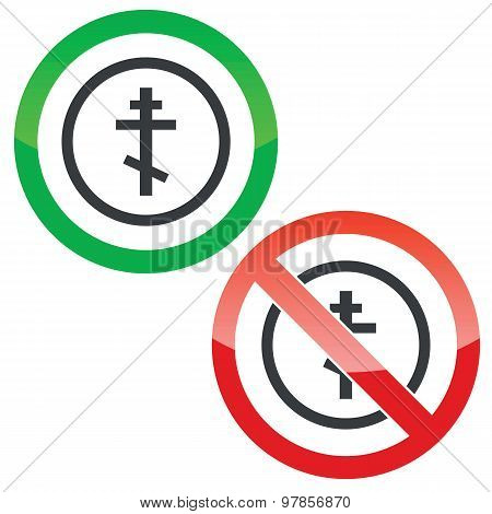 Orthodox cross permission signs