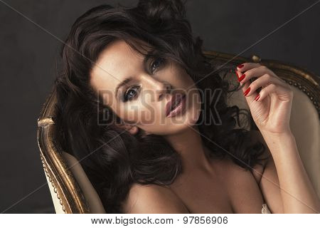 Portrait Of Sexy Beautiful Woman With Long Curly Hair. Perfect Makeup.