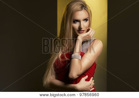 Blonde Woman Wear Red Dress