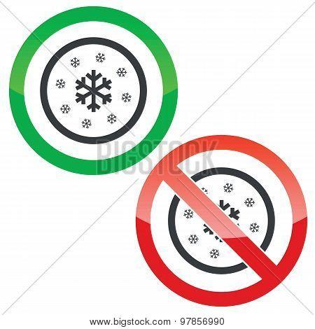 Snow permission signs