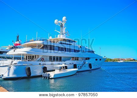 Luxury Yacht And Tender In Porto Cervo