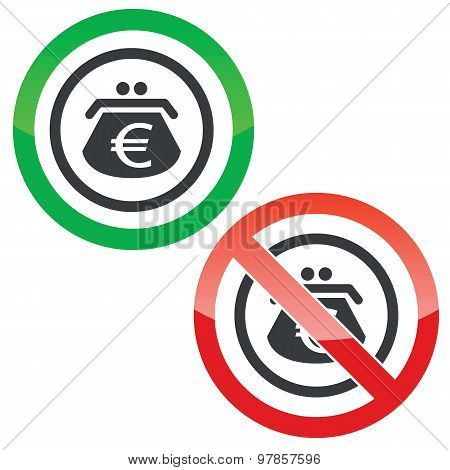 Euro purse permission signs