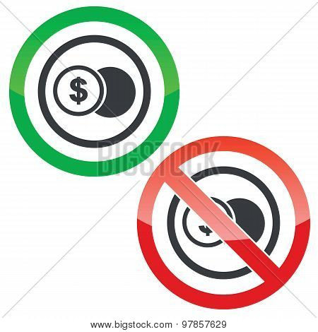 Dollar coin permission signs