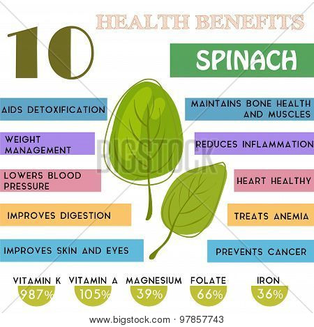 10 Health Benefits Information Of Spinach. Nutrients Infographic,  Vector Illustration. - Stock Vect