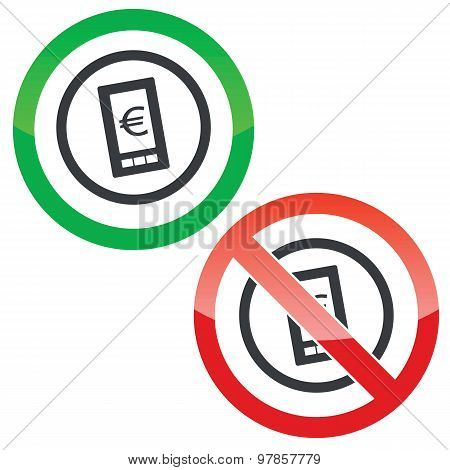 Euro on screen permission signs