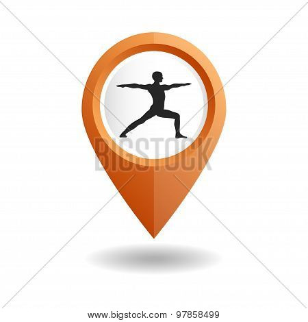 Orange map pointer with a man in an yoga pose.