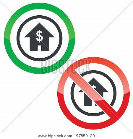 Dollar house permission signs