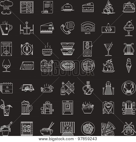 White line vector icons set for restaurant