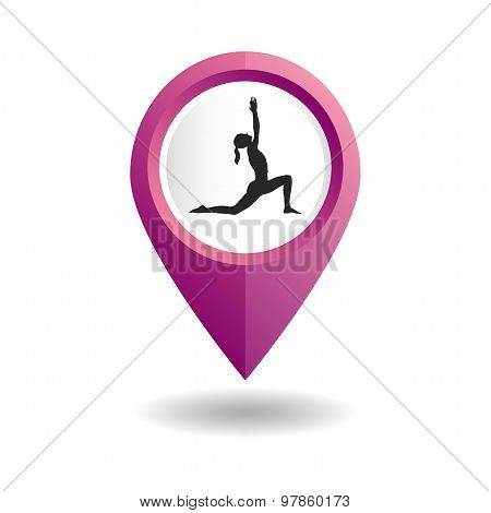 Map pointer with a woman in an yoga pose. GPS location symbol.