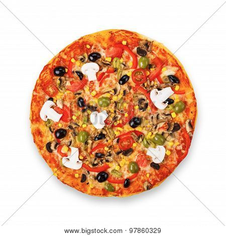Delicious Vegetarian Pizza With Tomatoes, Mushrooms And Olives